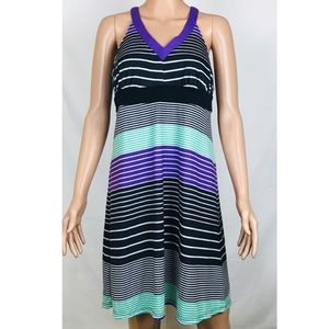 Outdoor Lifestyle Purple Striped Racer Back Dress